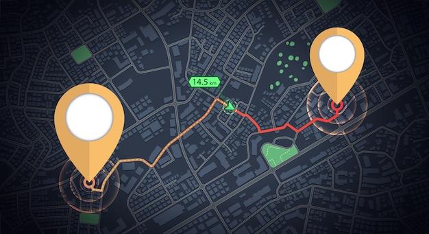 Maqueta de iconos de gps con flecha de distancia en el mapa de la ciudad