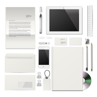 Maqueta de identidad corporativa. color blanco con sombras suaves. ilustración vectorial