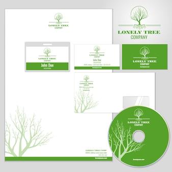 Maqueta de identidad corporativa con logo de árbol