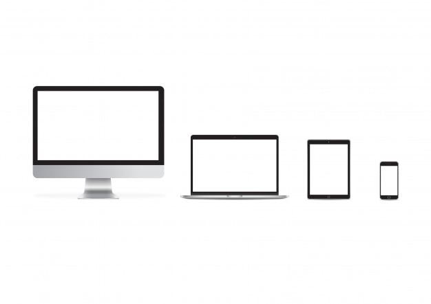 Maqueta imac iphone ipad set vector