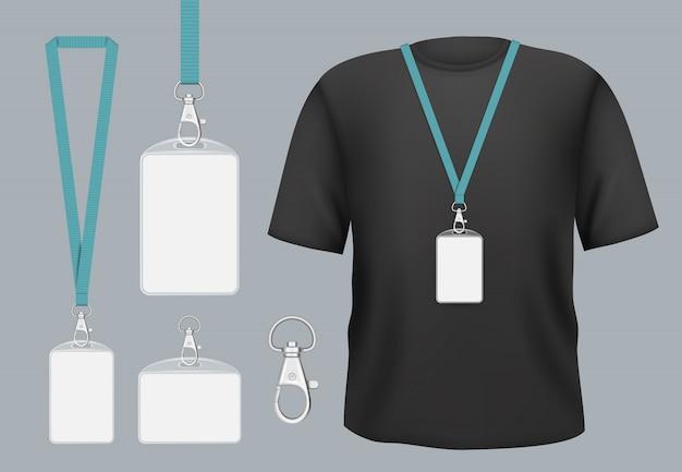Maqueta de insignias. insignias comerciales de acceso de etiqueta de presentación con nombre personal o plantilla de identificación