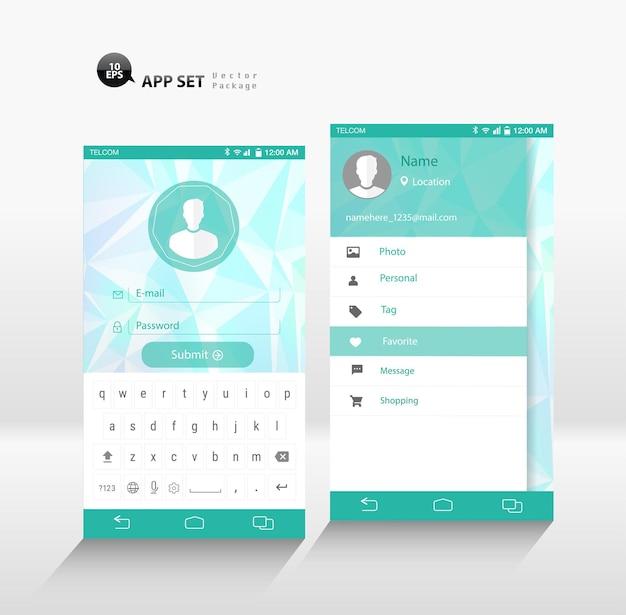 Maqueta de la interfaz de usuario de la interfaz de usuario de la interfaz de usuario del panel lateral y el inicio de sesión de la aplicación del teléfono inteligente vectorial