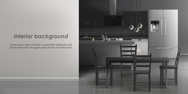 Maqueta del interior de la sala de cocina con electrodomésticos.