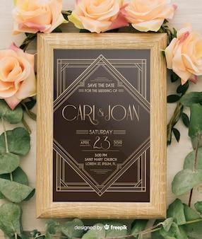 Maqueta de invitación de boda elegante