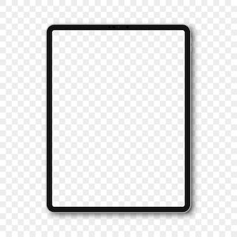 Maqueta de ipad con pantalla en blanco y sombra