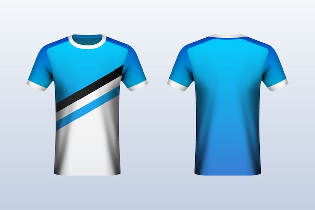 Maqueta de jersey azul y blanco en la parte delantera y trasera