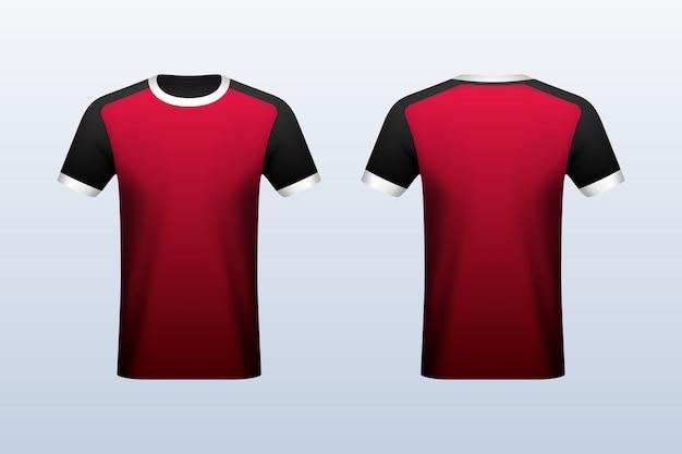 Maqueta de jersey rojo delantero y trasero