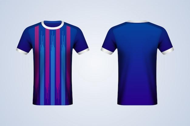 Maqueta de jersey de tiras azules y rojas delanteras y traseras