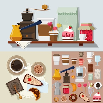 Maqueta de kit de objetos de tienda de dulces de postre de confitería de estilo plano. icono de herramientas de productos dulces para construir mesa de café. colección de kits.