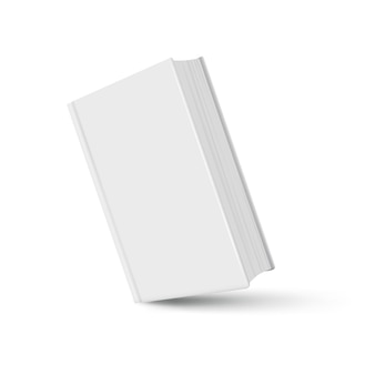 Maqueta de libro blanco realista con sombra sobre blanco