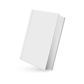 Maqueta de libro realista con sombra sobre blanco