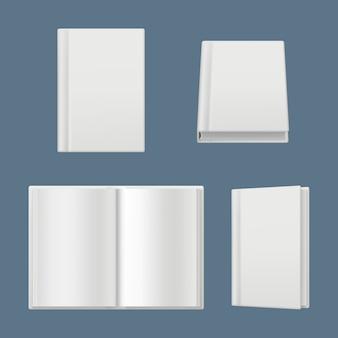 Maqueta de libros. las páginas blancas limpias de revistas y libros cubren la ilustración realista de la superficie del folleto