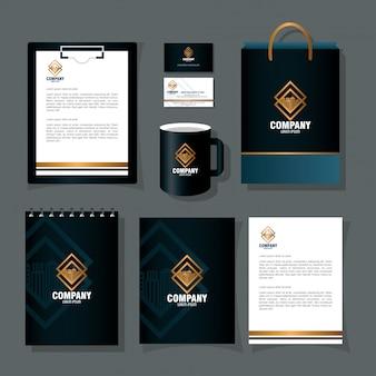 Maqueta de marca de identidad corporativa, maqueta de artículos de papelería de color negro con diseño de ilustración de vector de signo dorado