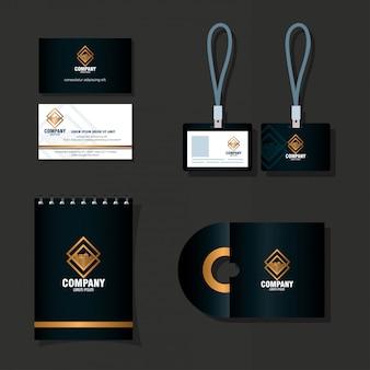 Maqueta de marca de identidad corporativa, maqueta de suministros de papelería, diseño de ilustración vectorial de color negro