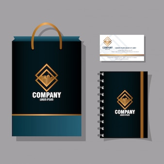Maqueta de marca de identidad corporativa, tarjeta de visita, cuaderno y bolso