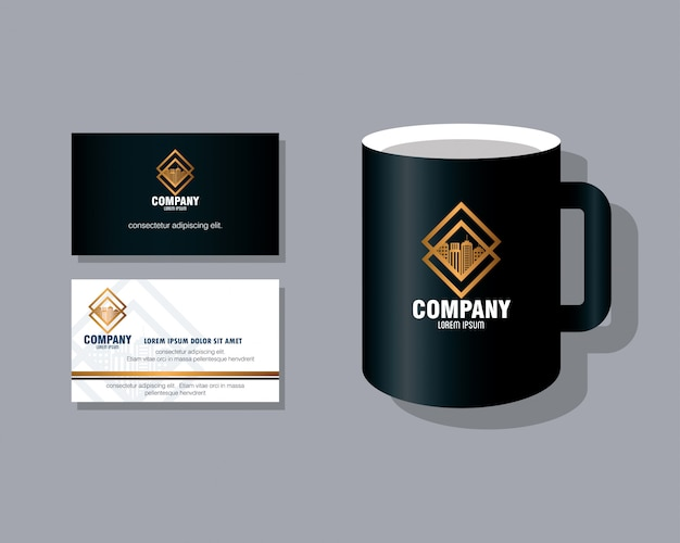 Maqueta de marca de identidad corporativa, tarjeta de visita y taza de café.