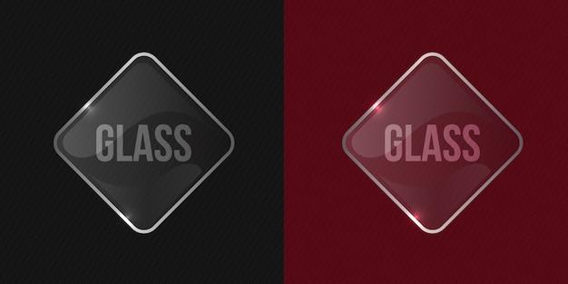 Maqueta de marco cuadrado brillante de vidrio transparente y brillante de vector transparente