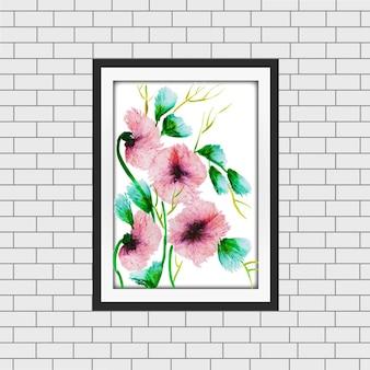 Maqueta de marco floral de acuarela