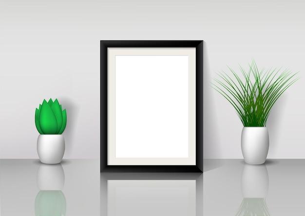Maqueta de marco de fotos de madera negra con varios tipos de plantas. decoración de interiores.