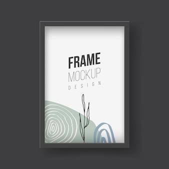 Maqueta de marco. ilustraciones planas vectoriales. marco de fotos con fotografía de hojas de palmeras tropicales. marco de plástico o madera realisitc con bordes negros para cuadros o fotografías colgados en la pared.