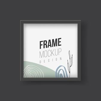 Maqueta de marco. ilustraciones planas vectoriales. marco rectangular con fotografía de hojas de palmeras tropicales. marco de plástico o madera con cenefas negras para cuadros o fotografías colgadas en la pared.