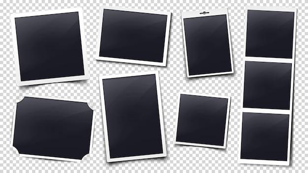 Maqueta de marcos de tarjetas fotográficas con sombra y borde blanco