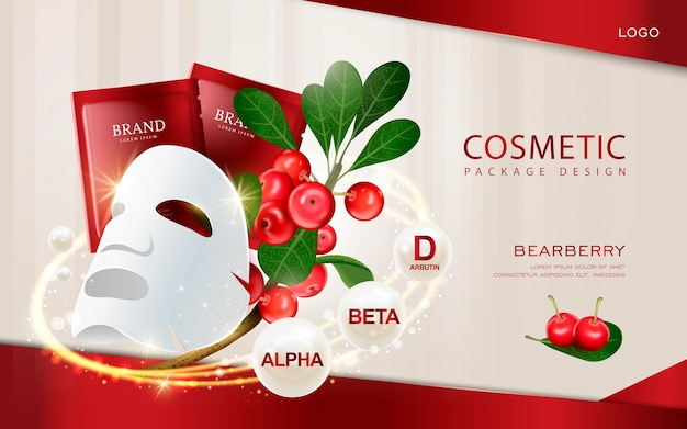 Maqueta de máscara facial de ilustración 3d con ingredientes en el fondo