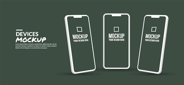 Maqueta mínima de teléfono inteligente con pantalla en blanco para el desarrollo de aplicaciones