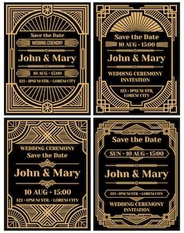 Maqueta moderna de la invitación de la boda en estilo retro del art deco clásico