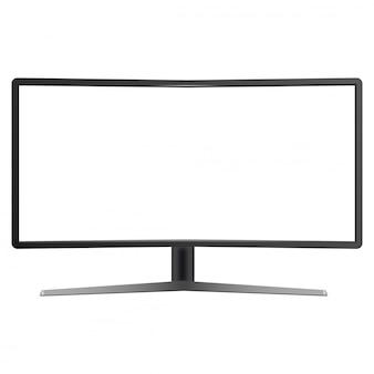 Maqueta de monitor de tv curvada realista aislada