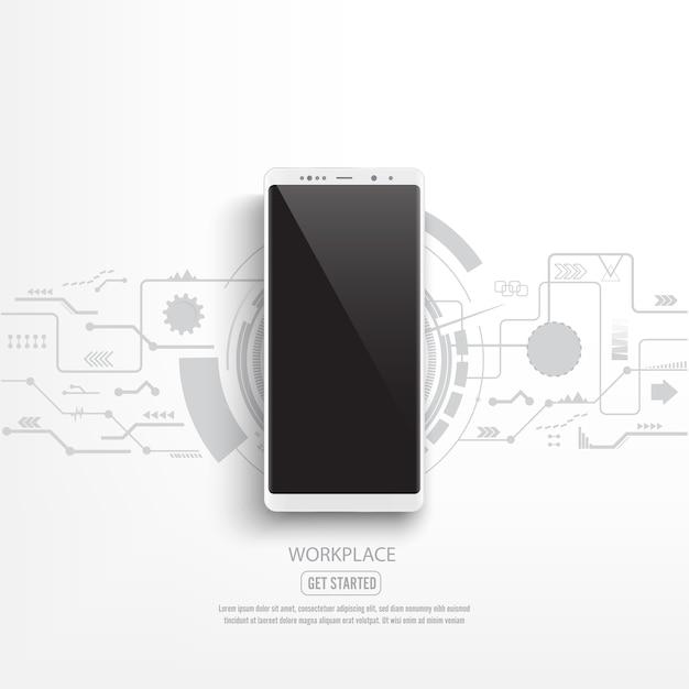 Maqueta negra del teléfono inteligente con el fondo del circuito.