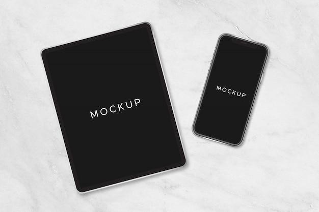 Maqueta nuevo ipad pro y iphone x negro vector