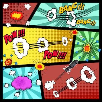 Maqueta de página de cómic con fondo de color. burbujas de discurso de arte pop. elemento para cartel, tarjeta, impresión, banner, flyer. imagen