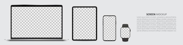Maqueta de pantalla. computadora portátil, tableta, teléfono inteligente y reloj inteligente con pantalla en blanco para el diseño