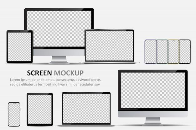 Maqueta de pantalla. monitor de computadora, computadora portátil, tableta y teléfono inteligente con pantalla en blanco para el diseño