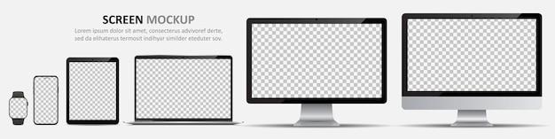 Maqueta de pantalla. monitores de computadora, computadora portátil, tableta, teléfono inteligente y reloj inteligente con pantalla en blanco para el diseño
