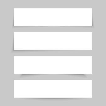 Maqueta de papel blanco vacío, conjunto de pancartas en blanco con sombras transparentes realistas, aisladas sobre fondo gris. ilustración.