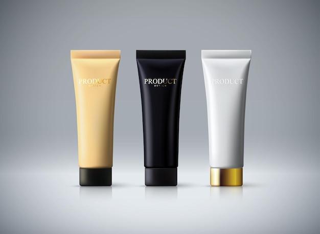 Maqueta de paquete de cosméticos de tubos de crema