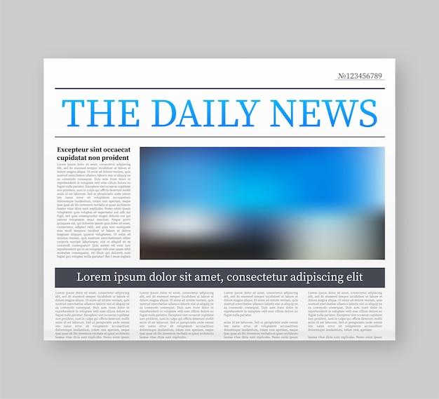 Maqueta de un periódico en blanco. periódico completo totalmente editable en máscara de recorte. ilustración de stock.