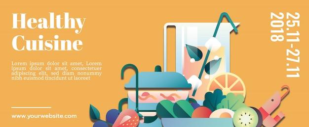 Maqueta de plantilla de banner de cocina saludable