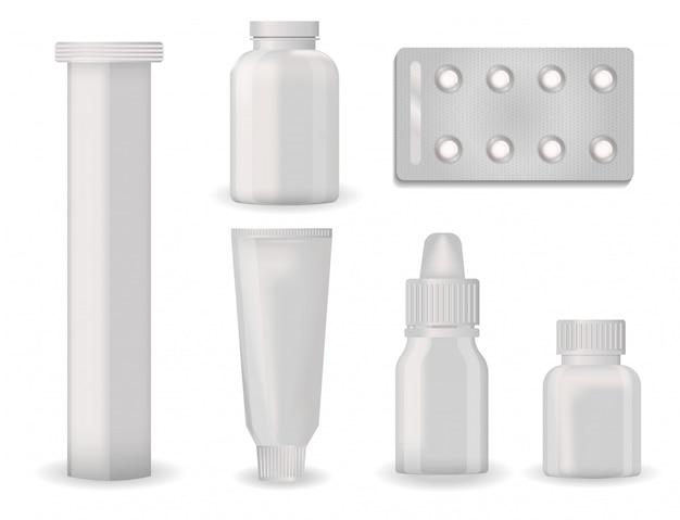Maqueta de plantilla de paquete de botella ampolla farmacéutica en blanco de píldoras y cápsulas contenedor de tubo para medicamentos embalaje de plástico limpio para ilustración de vector de medicamento