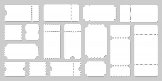 Maqueta de plantillas de entradas vacías, entradas para conciertos y películas. ilustración de vector sobre fondo