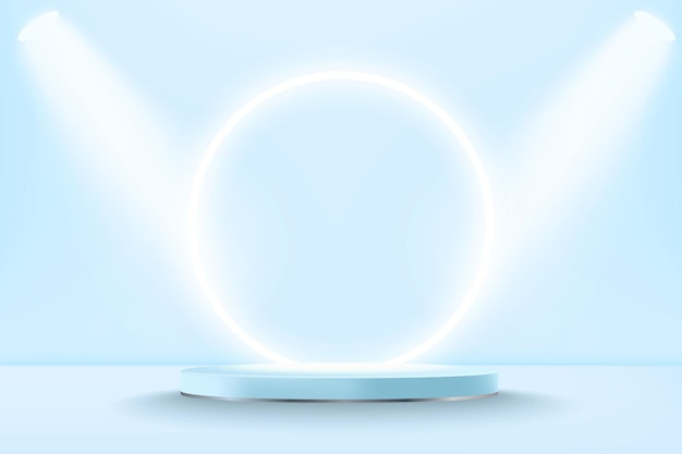 Maqueta de podio de pantalla 3d azul pastel realista con círculo de neón
