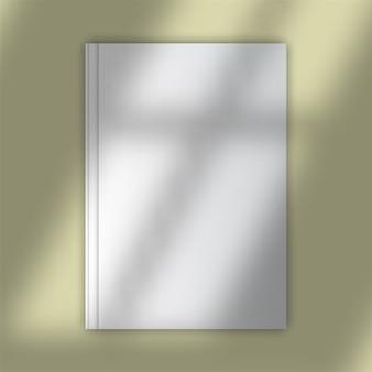 Maqueta de portada de libro en blanco con superposición de sombras