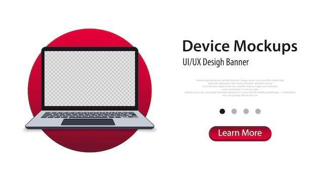 Maqueta de portátil moderno - vista frontal. banner de maqueta de portátil. concepto de negocio. dispositivos de maqueta pantalla en blanco del ordenador portátil, plantilla para la interfaz de diseño de interfaz de usuario de presentación. ilustración vectorial
