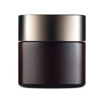Maqueta de producto de embalaje de vector de tarro de crema marrón envase cosmético de belleza redondo