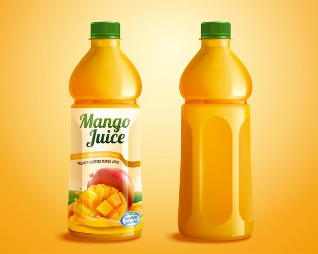 Maqueta de producto de jugo de mango con etiqueta diseñada en ilustración 3d