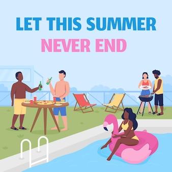 Maqueta de publicación de redes sociales de fiesta en la piscina deja que este verano nunca termine la frase plantilla de diseño de banner web