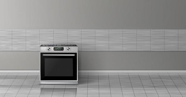 Maqueta realista 3d con la estufa de acero de plata moderna aislada en la pared gris de la teja.