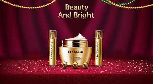 Maqueta realista 3d de perfume y loción cosmética para el cuidado de la piel de oro